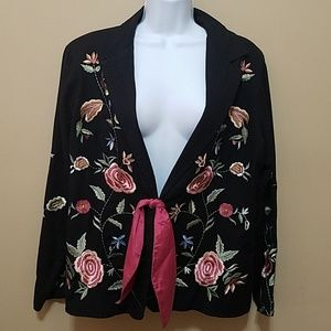 Soft Surroundings embroidered floral jacket